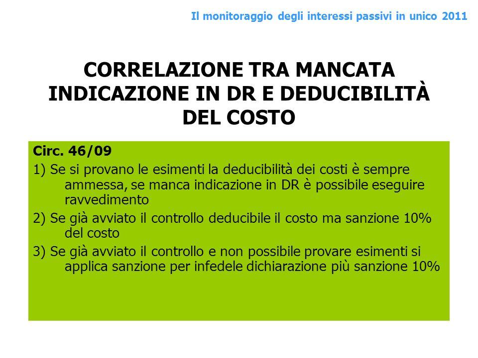 CORRELAZIONE TRA MANCATA INDICAZIONE IN DR E DEDUCIBILITÀ DEL COSTO
