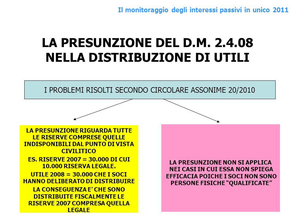LA PRESUNZIONE DEL D.M. 2.4.08 NELLA DISTRIBUZIONE DI UTILI