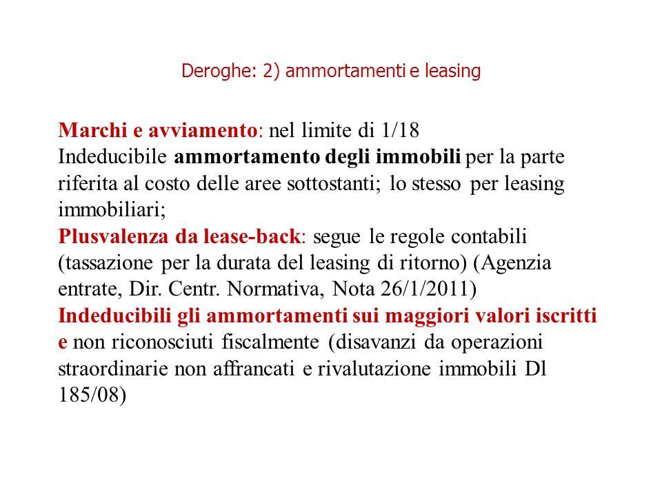 Deroghe: 2) ammortamenti e leasing