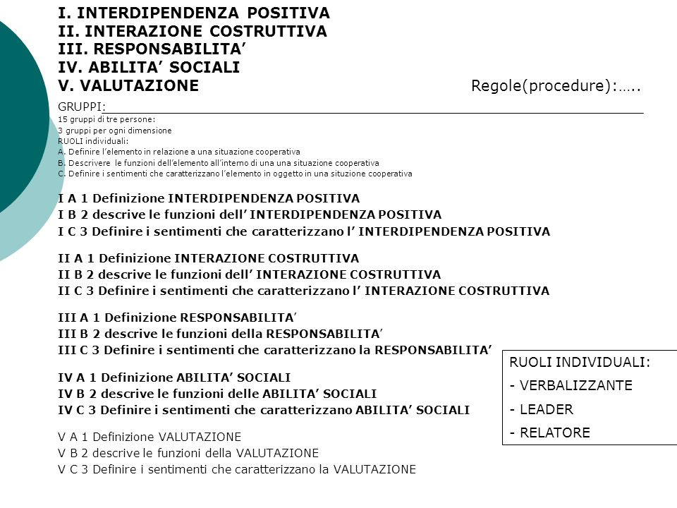 I. INTERDIPENDENZA POSITIVA II. INTERAZIONE COSTRUTTIVA