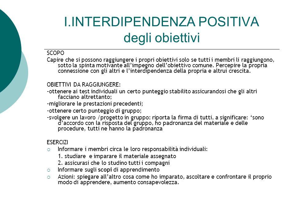 I.INTERDIPENDENZA POSITIVA degli obiettivi