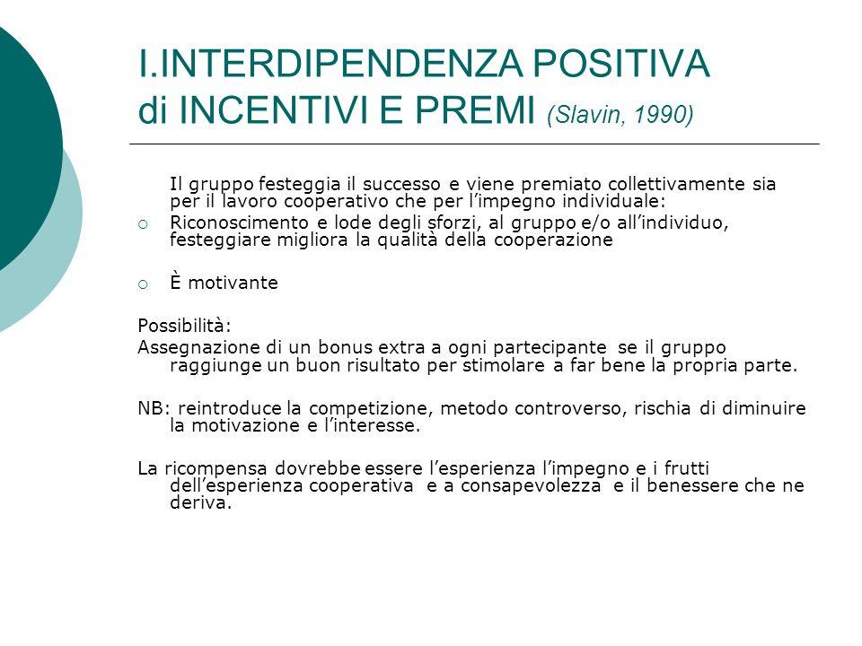 I.INTERDIPENDENZA POSITIVA di INCENTIVI E PREMI (Slavin, 1990)