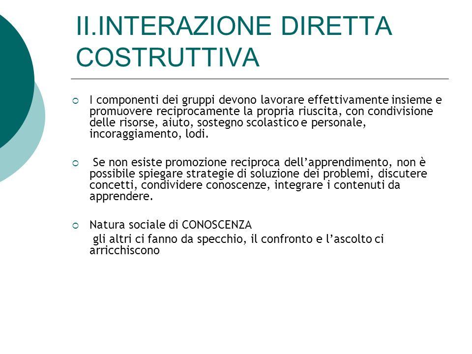 II.INTERAZIONE DIRETTA COSTRUTTIVA