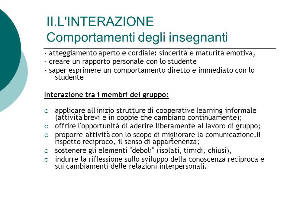 II.L INTERAZIONE Comportamenti degli insegnanti