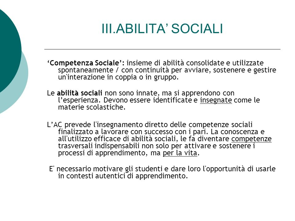 III.ABILITA' SOCIALI