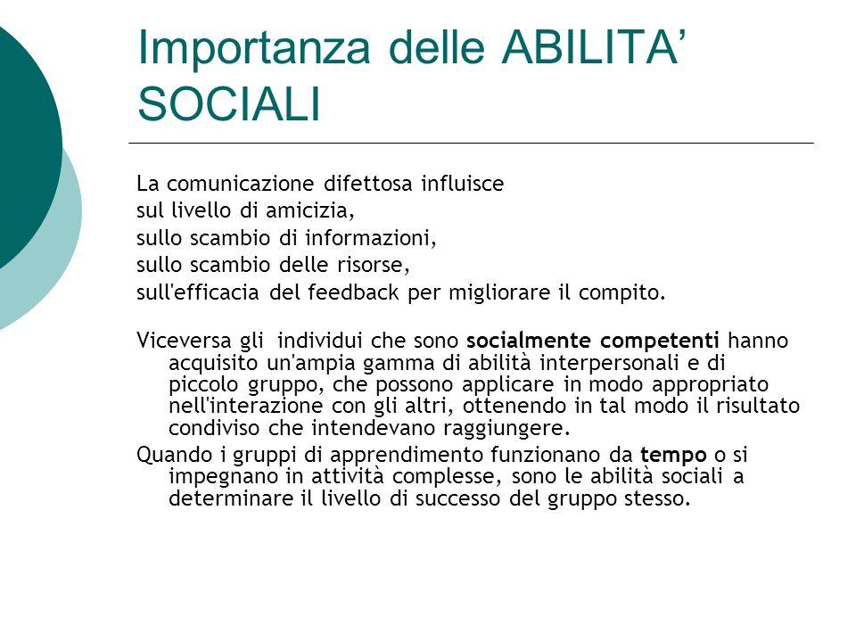 Importanza delle ABILITA' SOCIALI