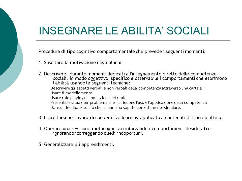 INSEGNARE LE ABILITA' SOCIALI