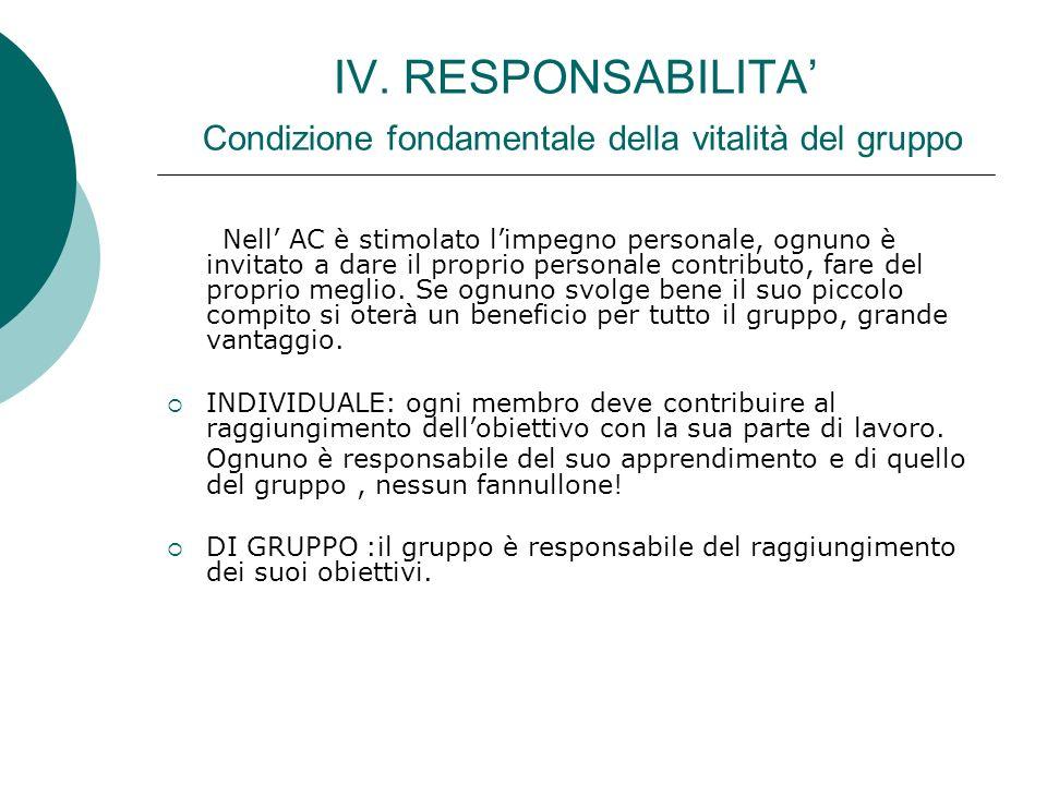 IV. RESPONSABILITA' Condizione fondamentale della vitalità del gruppo