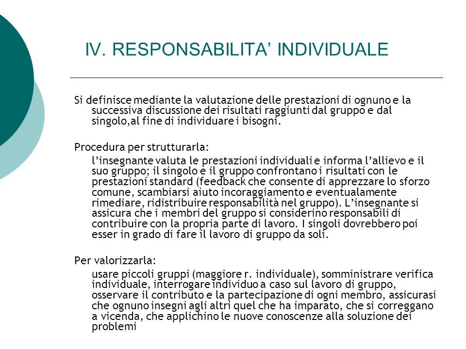 IV. RESPONSABILITA' INDIVIDUALE