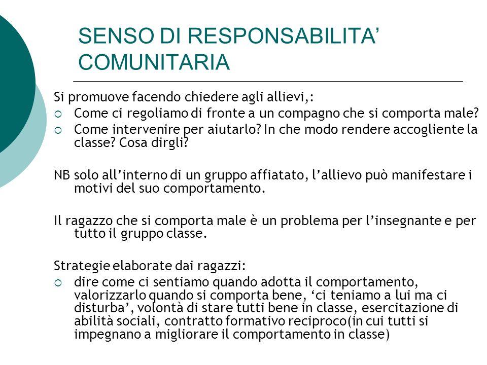 SENSO DI RESPONSABILITA' COMUNITARIA