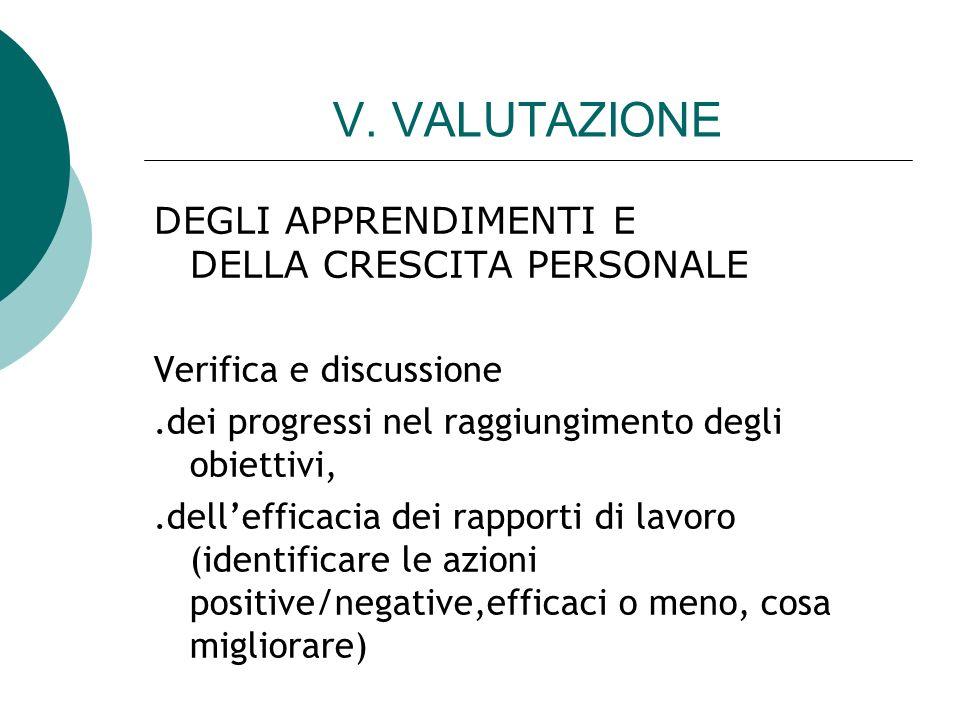 V. VALUTAZIONE DEGLI APPRENDIMENTI E DELLA CRESCITA PERSONALE