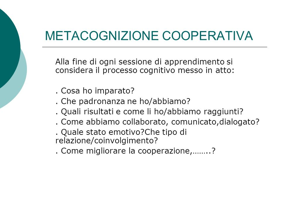 METACOGNIZIONE COOPERATIVA