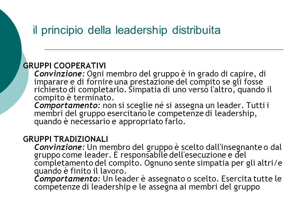 il principio della leadership distribuita