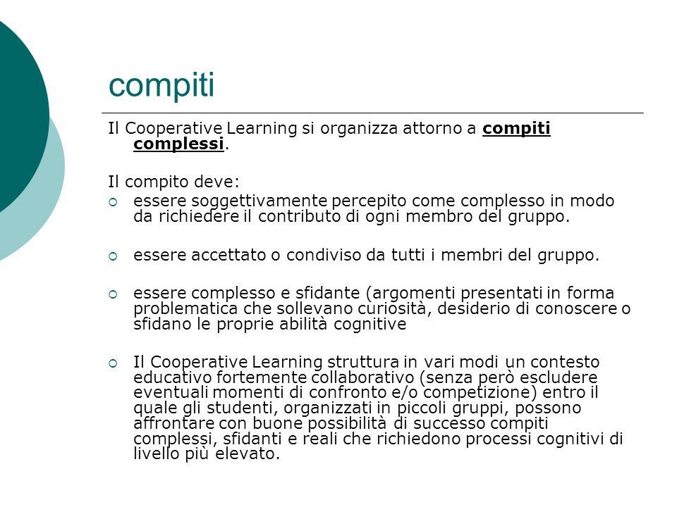 compiti Il Cooperative Learning si organizza attorno a compiti complessi. Il compito deve: