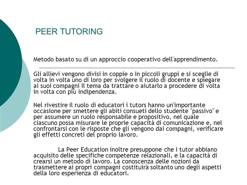 PEER TUTORING Metodo basato su di un approccio cooperativo dell apprendimento.