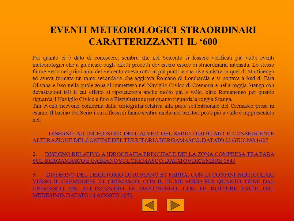 EVENTI METEOROLOGICI STRAORDINARI CARATTERIZZANTI IL '600