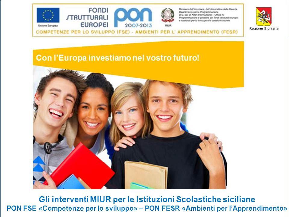 Gli interventi MIUR per le Istituzioni Scolastiche siciliane