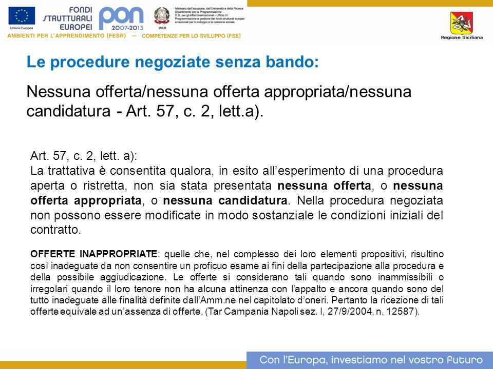 Le procedure negoziate senza bando: