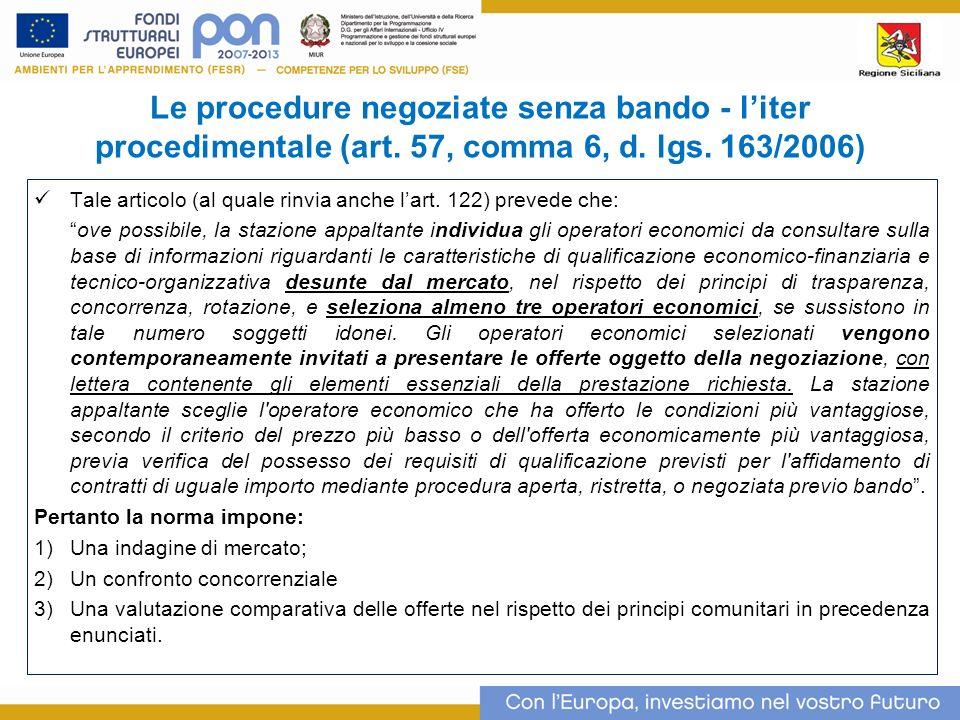 Le procedure negoziate senza bando - l'iter procedimentale (art