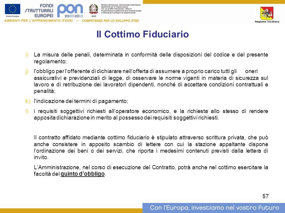 Il Cottimo Fiduciario La misura delle penali, determinata in conformità delle disposizioni del codice e del presente regolamento;