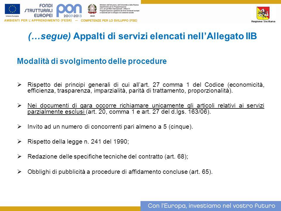 (…segue) Appalti di servizi elencati nell'Allegato IIB