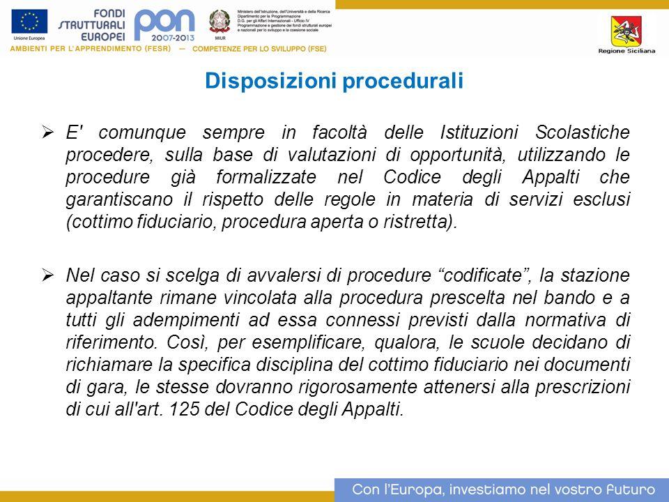 Disposizioni procedurali