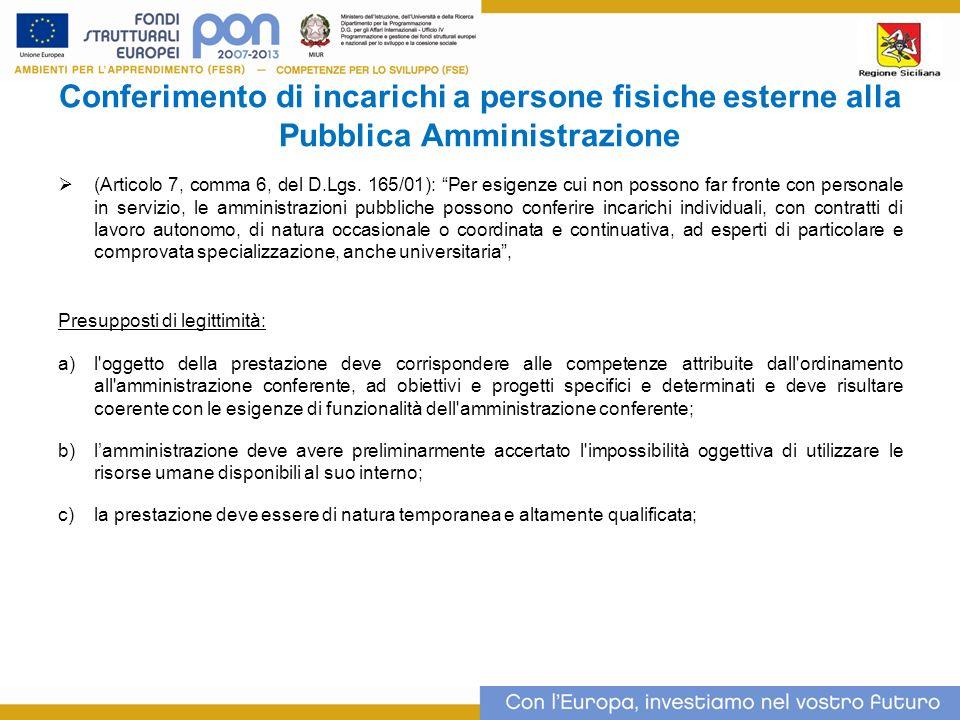 Conferimento di incarichi a persone fisiche esterne alla Pubblica Amministrazione