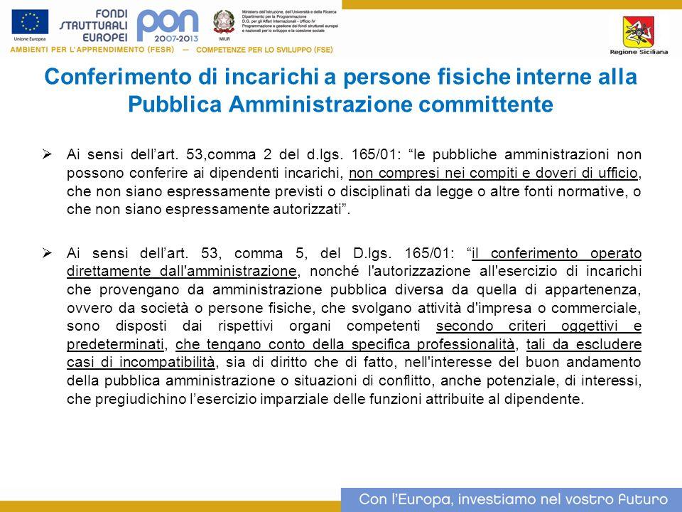 Conferimento di incarichi a persone fisiche interne alla Pubblica Amministrazione committente