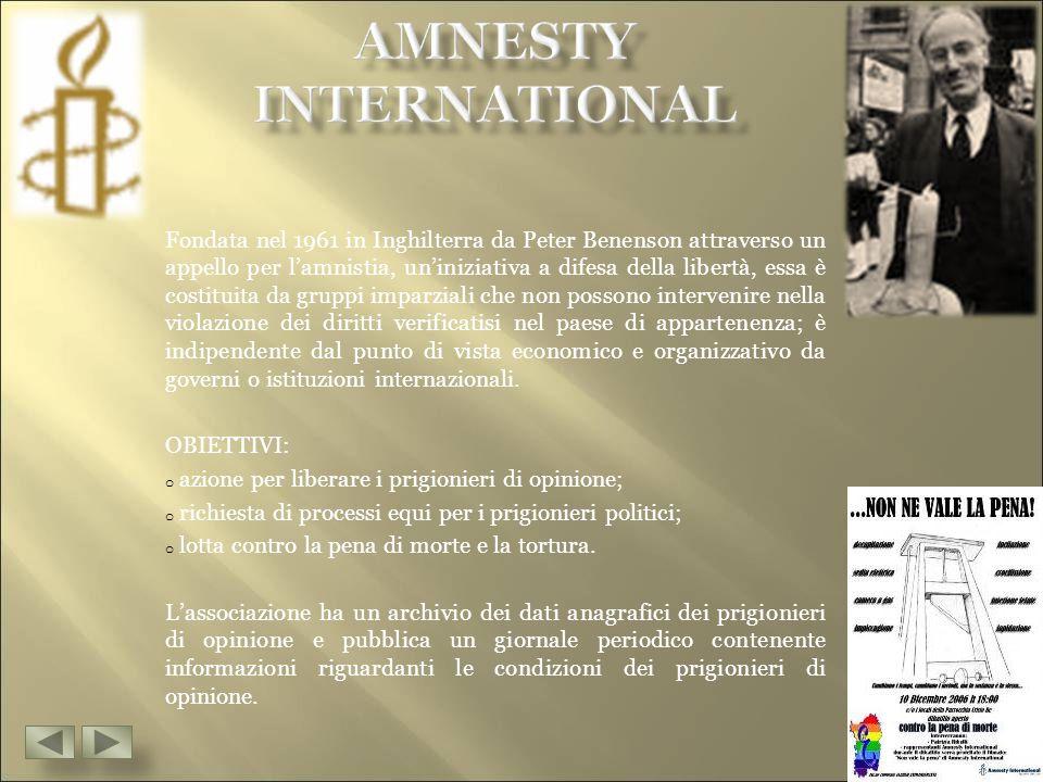 Fondata nel 1961 in Inghilterra da Peter Benenson attraverso un appello per l'amnistia, un'iniziativa a difesa della libertà, essa è costituita da gruppi imparziali che non possono intervenire nella violazione dei diritti verificatisi nel paese di appartenenza; è indipendente dal punto di vista economico e organizzativo da governi o istituzioni internazionali.