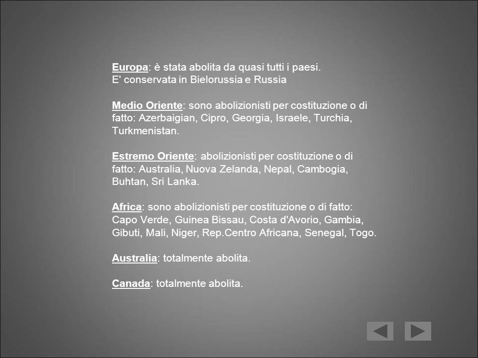 Europa: è stata abolita da quasi tutti i paesi