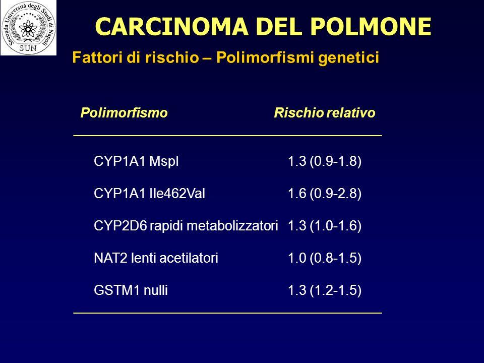 CARCINOMA DEL POLMONE Fattori di rischio – Polimorfismi genetici