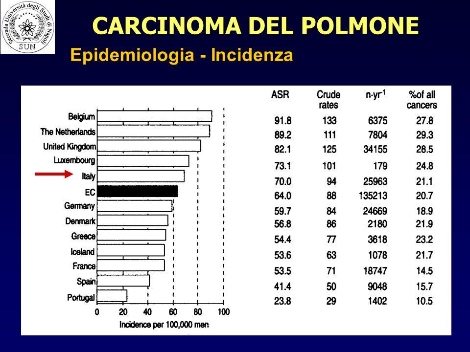 CARCINOMA DEL POLMONE Epidemiologia - Incidenza