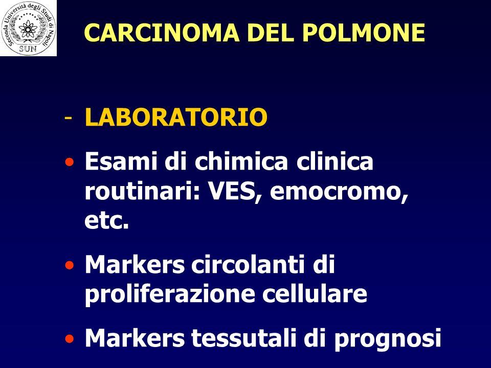 CARCINOMA DEL POLMONE LABORATORIO. Esami di chimica clinica routinari: VES, emocromo, etc. Markers circolanti di proliferazione cellulare.
