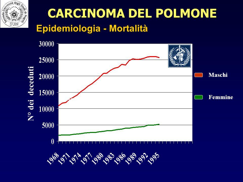 CARCINOMA DEL POLMONE Epidemiologia - Mortalità N° dei deceduti Maschi