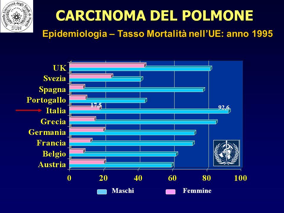 CARCINOMA DEL POLMONE Epidemiologia – Tasso Mortalità nell'UE: anno 1995 17,5 92,6 Maschi Femmine