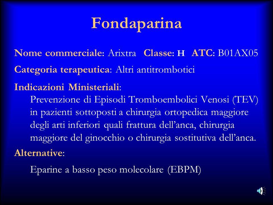 Fondaparina Nome commerciale: Arixtra Classe: H ATC: B01AX05