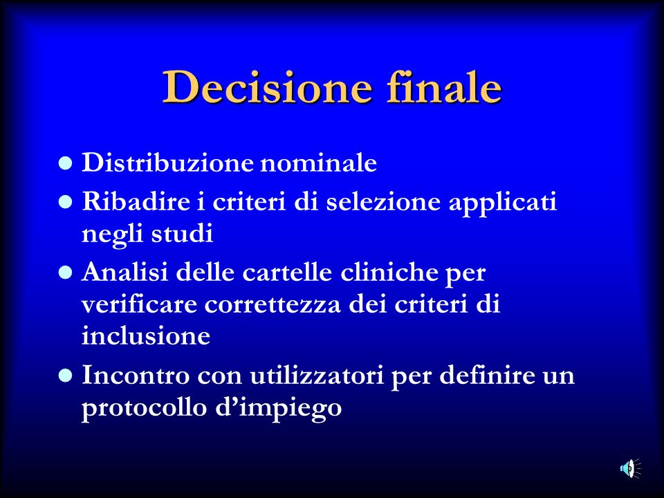 Decisione finale Distribuzione nominale
