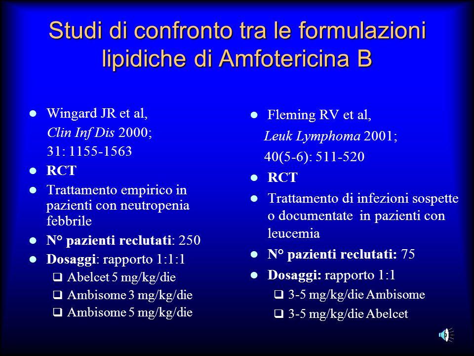 Studi di confronto tra le formulazioni lipidiche di Amfotericina B