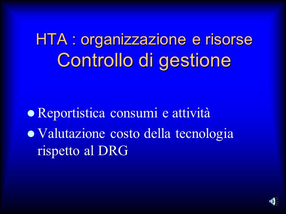 HTA : organizzazione e risorse Controllo di gestione