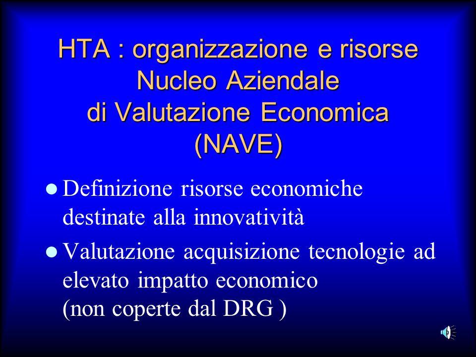 HTA : organizzazione e risorse Nucleo Aziendale di Valutazione Economica (NAVE)