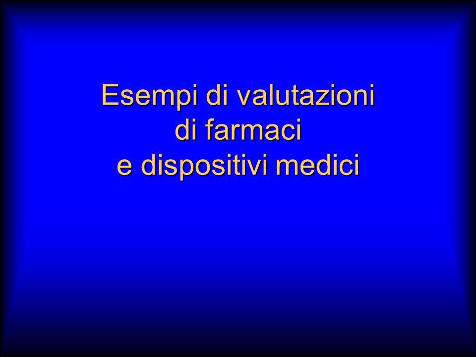 Esempi di valutazioni di farmaci e dispositivi medici