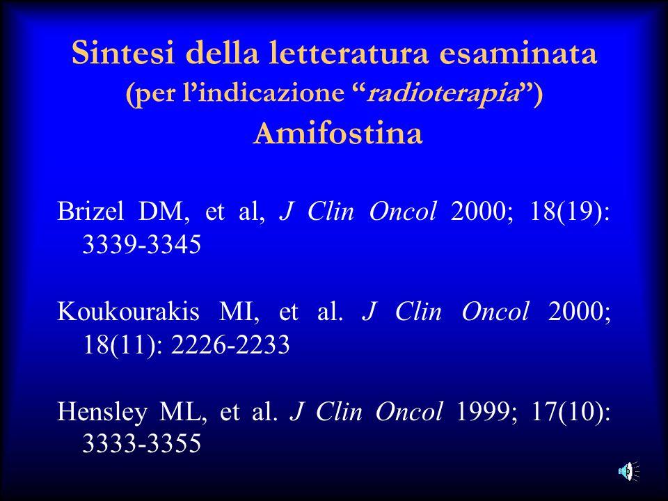 Sintesi della letteratura esaminata (per l'indicazione radioterapia ) Amifostina