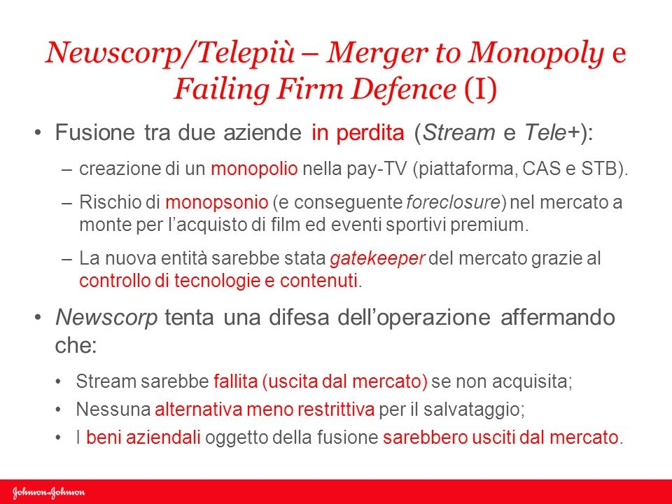Newscorp/Telepiù – Merger to Monopoly e Failing Firm Defence (I)