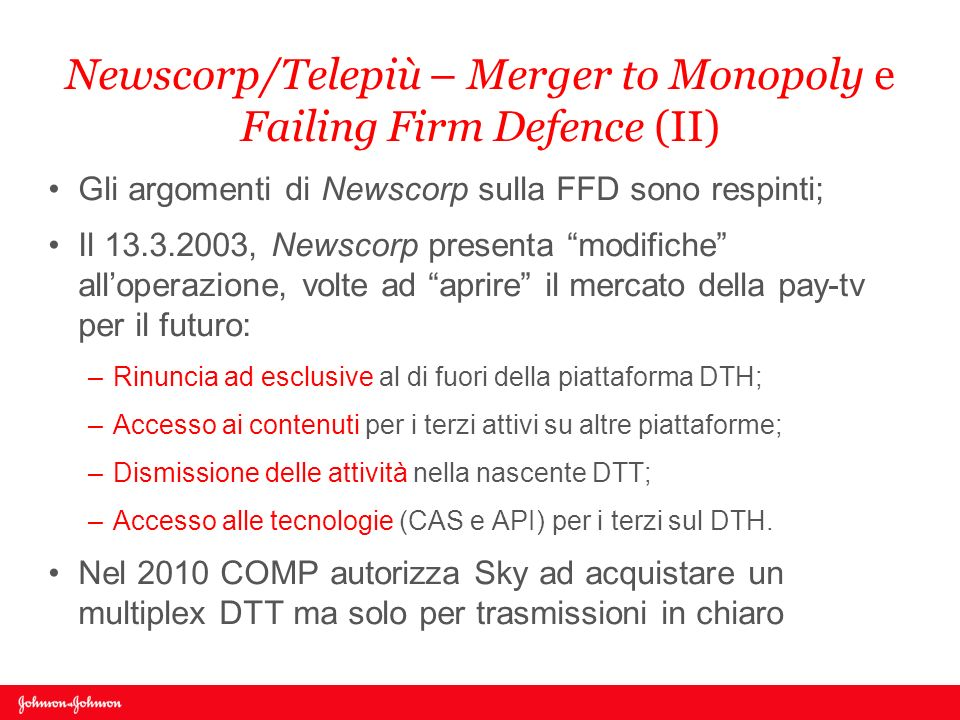 Newscorp/Telepiù – Merger to Monopoly e Failing Firm Defence (II)