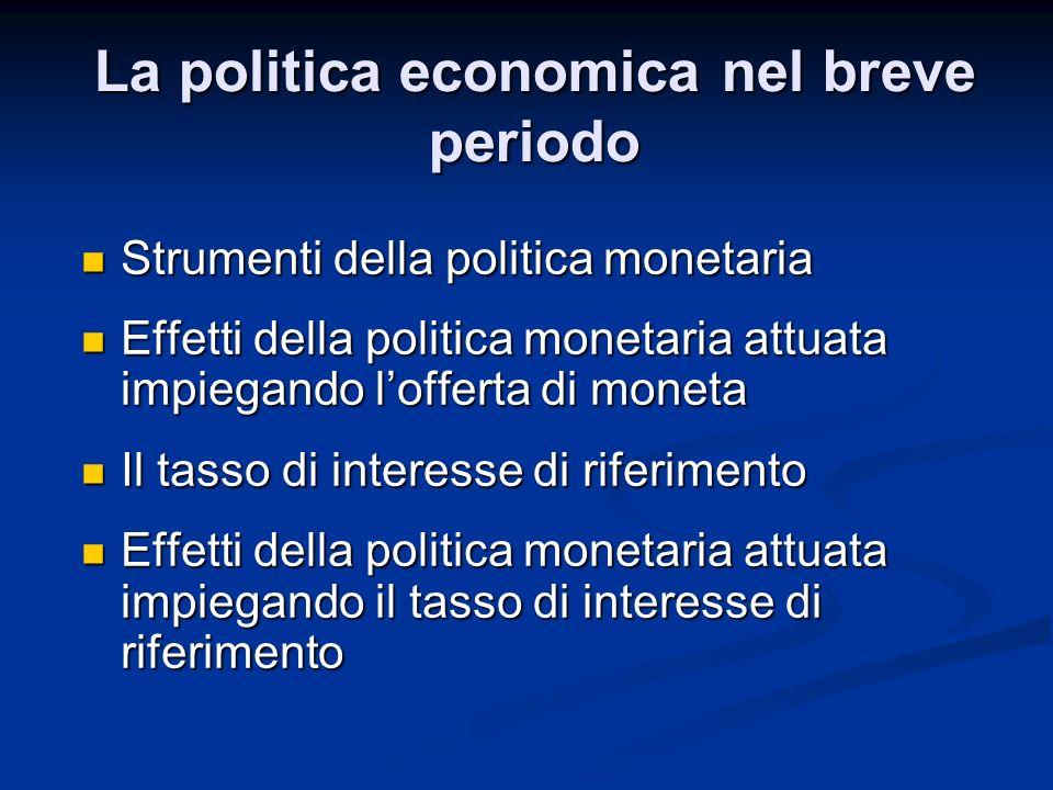 La politica economica nel breve periodo