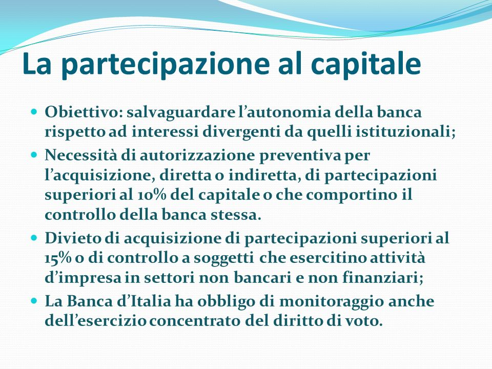 La partecipazione al capitale