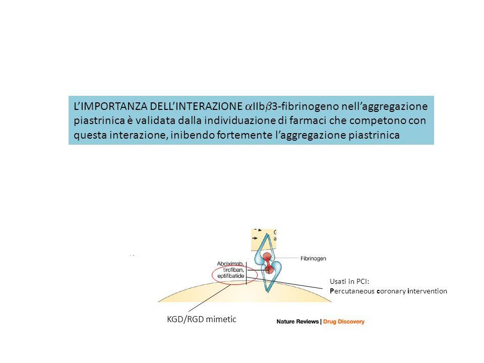 L'IMPORTANZA DELL'INTERAZIONE aIIbb3-fibrinogeno nell'aggregazione