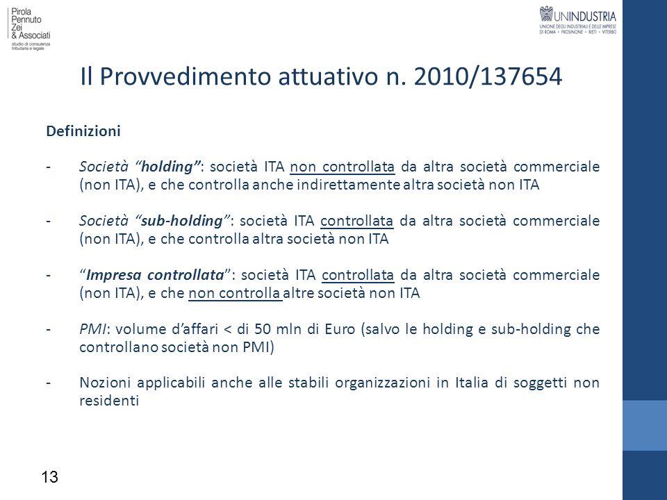 Il Provvedimento attuativo n. 2010/137654