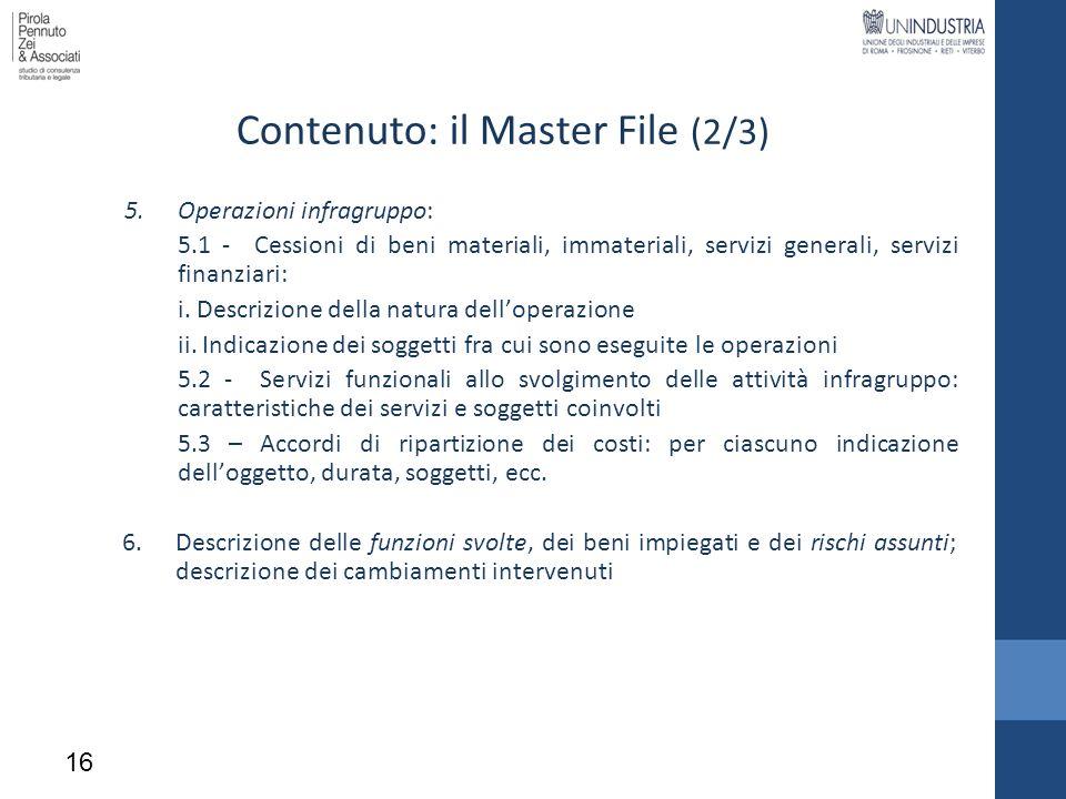 Contenuto: il Master File (2/3)