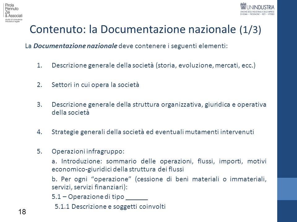 Contenuto: la Documentazione nazionale (1/3)
